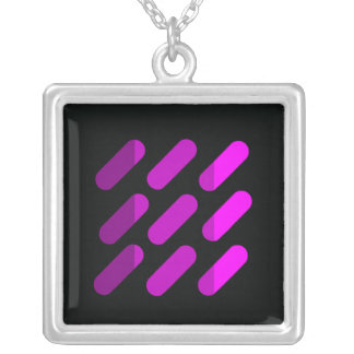 Modern graphic art  Black and Pink Square Pendant Necklace