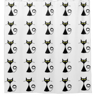 Modern Graphic Black Cat Yellow Eyes Custom Color