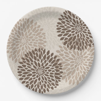 Modern Graphic Chrysanthemums Party Plates