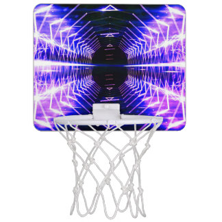 Modern Graphic Cool Glowing Vortex, Ultra Violet Mini Basketball Hoop