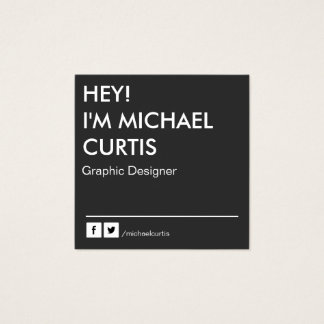 Modern Graphic Designer QR Code Square Business Card