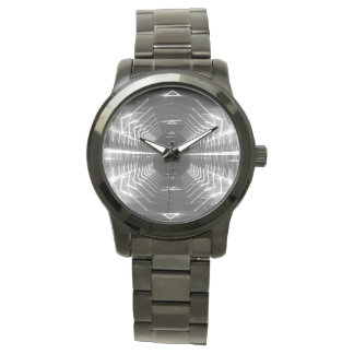 Modern Graphic Glowing Vortex, Black & White - Watches