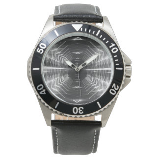 Modern Graphic Glowing Vortex, Black & White - Wrist Watch