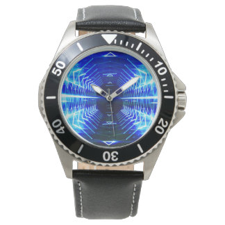 Modern Graphic Glowing Vortex, Blue - Watch