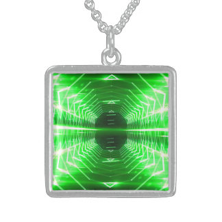 Modern Graphic Glowing Vortex, Green - Sterling Silver Necklace