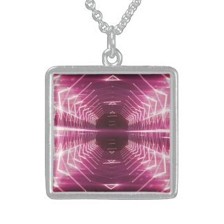 Modern Graphic Glowing Vortex, Maroon - Sterling Silver Necklace