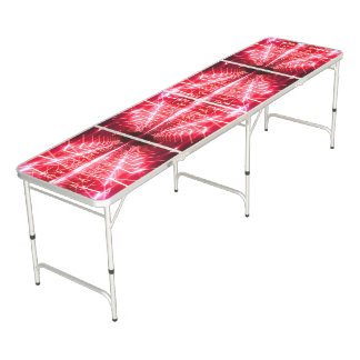Modern Graphic Glowing Vortex, Red - Beer Pong Table
