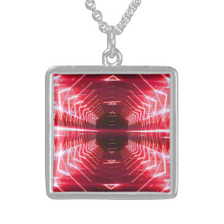 Modern Graphic Glowing Vortex, Red - Sterling Silver Necklace
