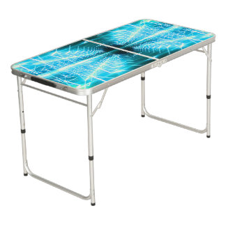 Modern Graphic Glowing Vortex, Teal - Pong Table
