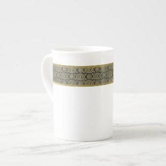 Modern Gray and Gold Band Bone China Mug