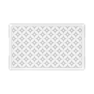 Modern Gray and White Circle Polka Dots Pattern Acrylic Tray