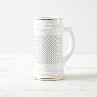 Modern Gray and White Circle Polka Dots Pattern Beer Stein