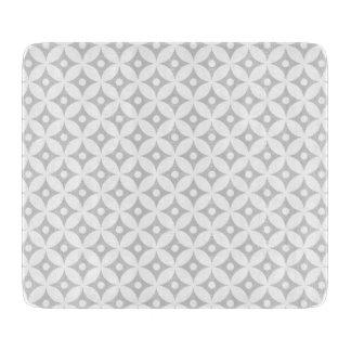 Modern Gray and White Circle Polka Dots Pattern Cutting Board