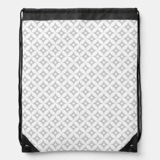 Modern Gray and White Circle Polka Dots Pattern Drawstring Bag