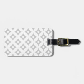 Modern Gray and White Circle Polka Dots Pattern Luggage Tag