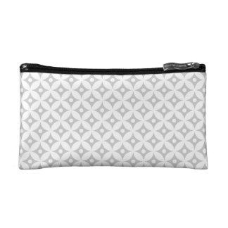 Modern Gray and White Circle Polka Dots Pattern Makeup Bag