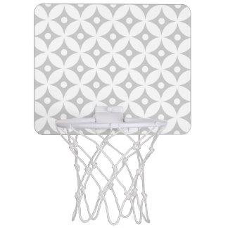 Modern Gray and White Circle Polka Dots Pattern Mini Basketball Hoop