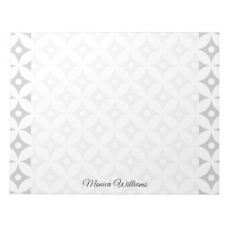 Modern Gray and White Circle Polka Dots Pattern Notepad