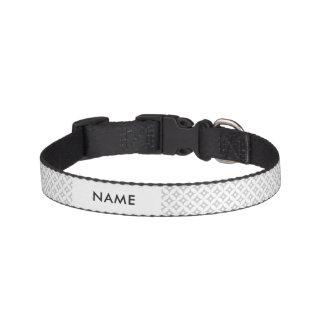 Modern Gray and White Circle Polka Dots Pattern Pet Collar