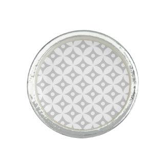 Modern Gray and White Circle Polka Dots Pattern Photo Ring