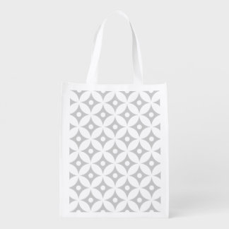 Modern Gray and White Circle Polka Dots Pattern Reusable Grocery Bag