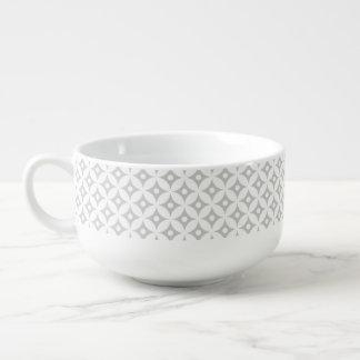 Modern Gray and White Circle Polka Dots Pattern Soup Mug