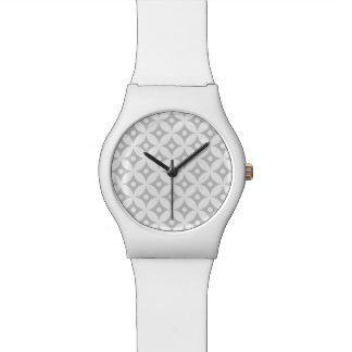 Modern Gray and White Circle Polka Dots Pattern Watch