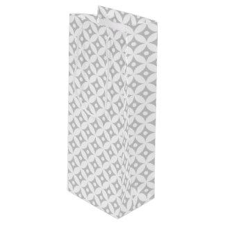 Modern Gray and White Circle Polka Dots Pattern Wine Gift Bag