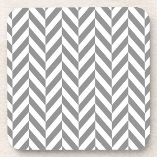 Modern gray and white herringbone coaster