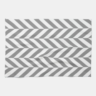Modern gray and white herringbone kitchen towel