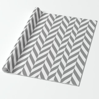 Modern gray and white herringbone wrapping paper
