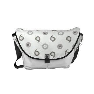 Modern Gray and White Paisley Messenger Bag