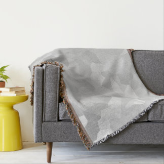 Modern - Gray and White Polygon Shape Abstract Throw Blanket
