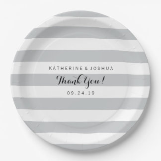Modern Gray and White Stripes 9 Inch Paper Plate
