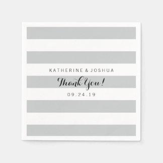 Modern Gray and White Stripes Wedding Disposable Napkin