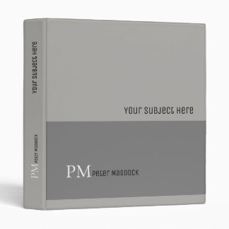 modern gray binder with name and subject