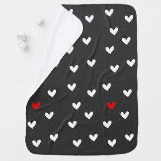Modern Gray Black Heart Baby Blanket