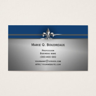 Modern Gray Blue Fleur de Lis Business Card