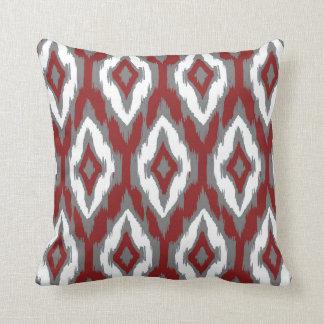Modern gray burgundy white Ikat Tribal Pattern 1a Throw Pillow