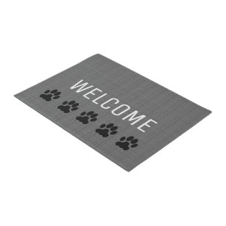 Modern gray burlap Welcome family dog paws Doormat