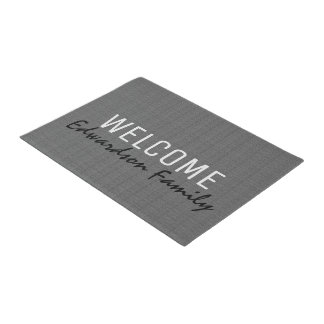 Modern gray burlap Welcome monogram family name Doormat