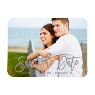 Modern Gray Calligraphy Save the Date Photo Magnet
