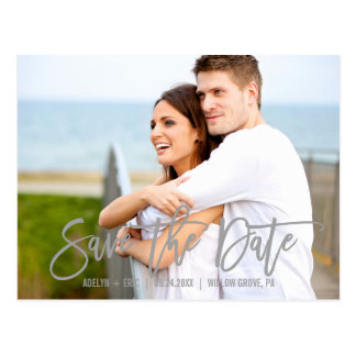 Modern Gray Calligraphy Save the Date Photo Postcard