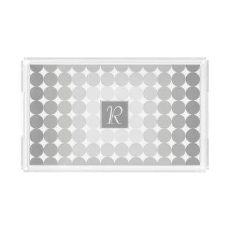 Modern Gray Circles Monogram Acrylic Tray