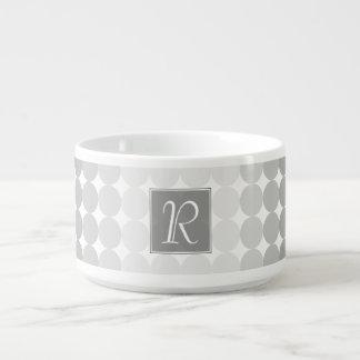 Modern Gray Circles Monogram Bowl