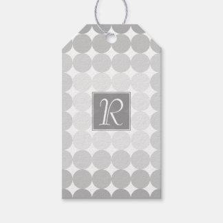 Modern Gray Circles Monogram Gift Tags