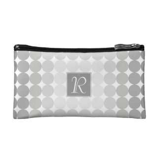 Modern Gray Circles Monogram Makeup Bag