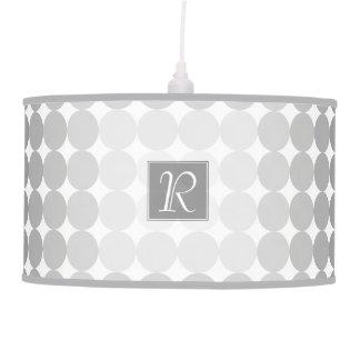 Modern Gray Circles Monogram Pendant Lamp