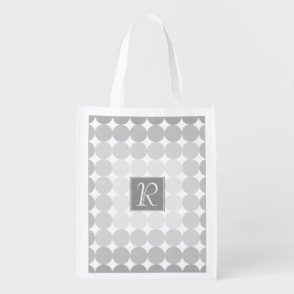 Modern Gray Circles Monogram Reusable Grocery Bag