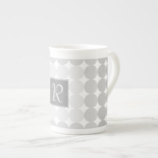 Modern Gray Circles Monogram Tea Cup
